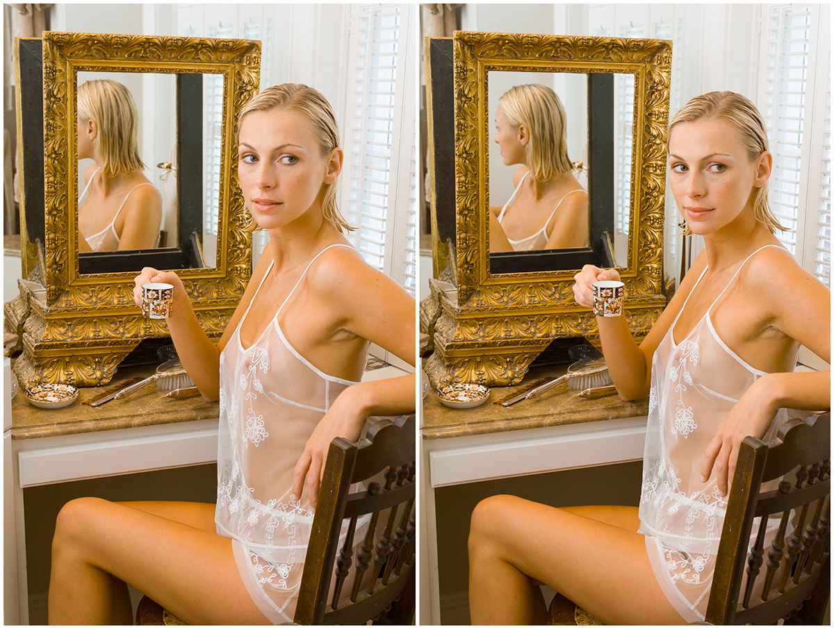 Moving Carrie's head to the right reveals her face in the mirror.