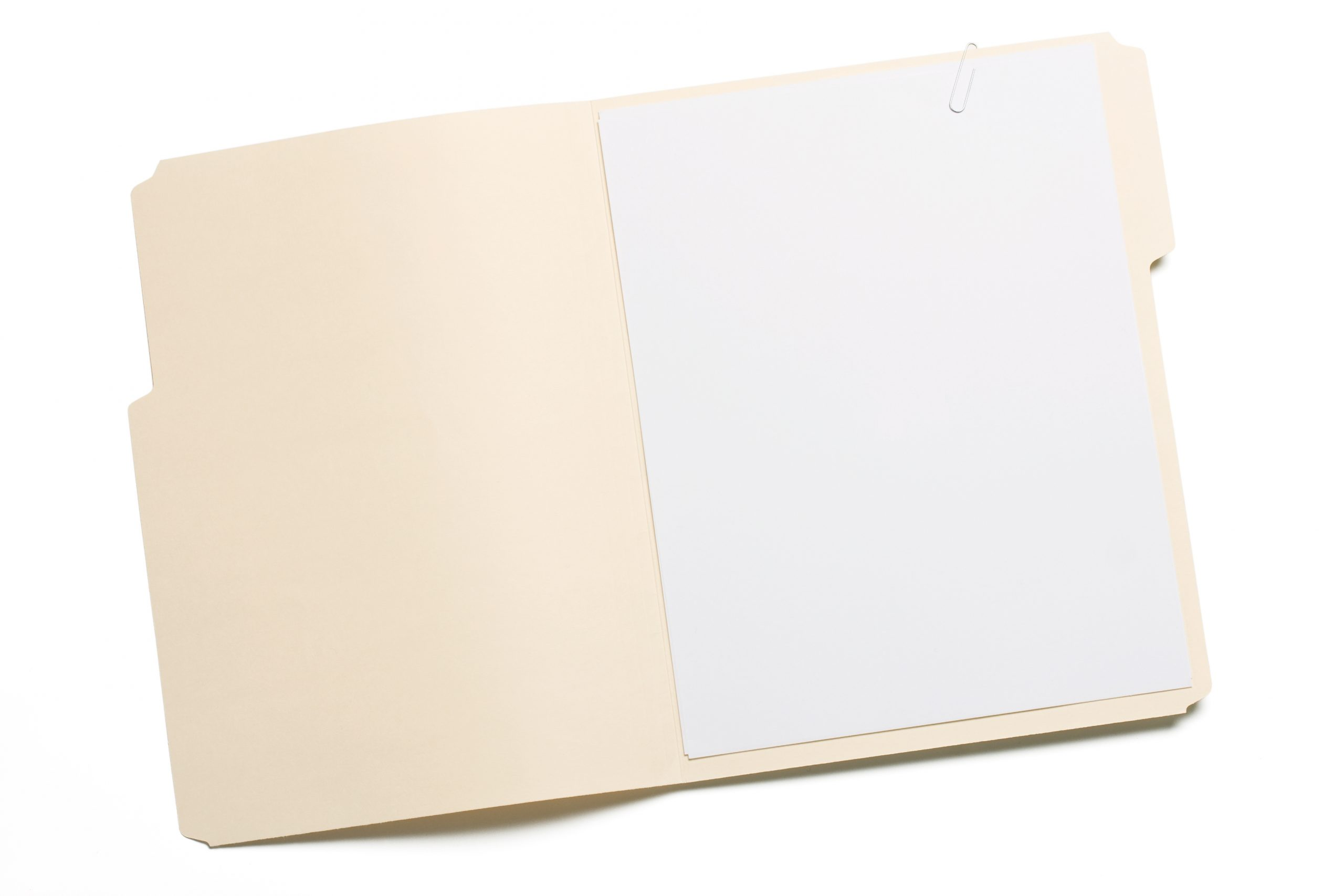 Photofocus   Opened file folder with white paper inside isolated ...