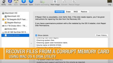Recover Files from a Corrupt Memory Card Using Mac Disk Utility