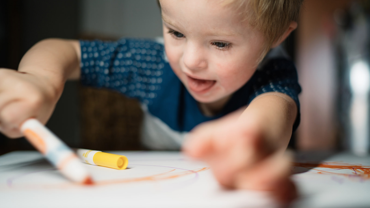 Little Boy Happily Drawing By Gary Radler