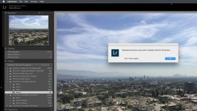 Building Standard Previews in Lightroom
