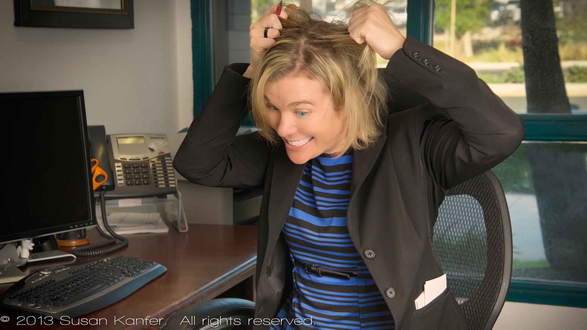 Businesswoman Pulls Her Hair