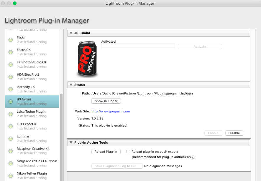 JPEGMini Lightroom Plug-In Manager