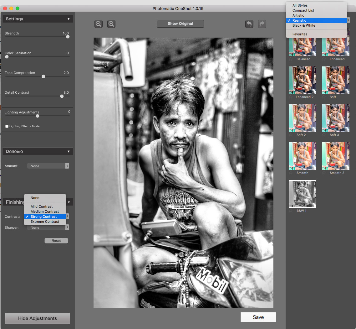 Photomatix One Shot's adjustments and presets dialog
