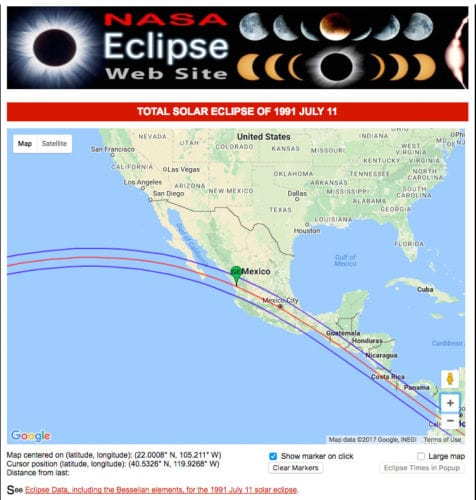 The NASA map of the July 1991 eclipse path