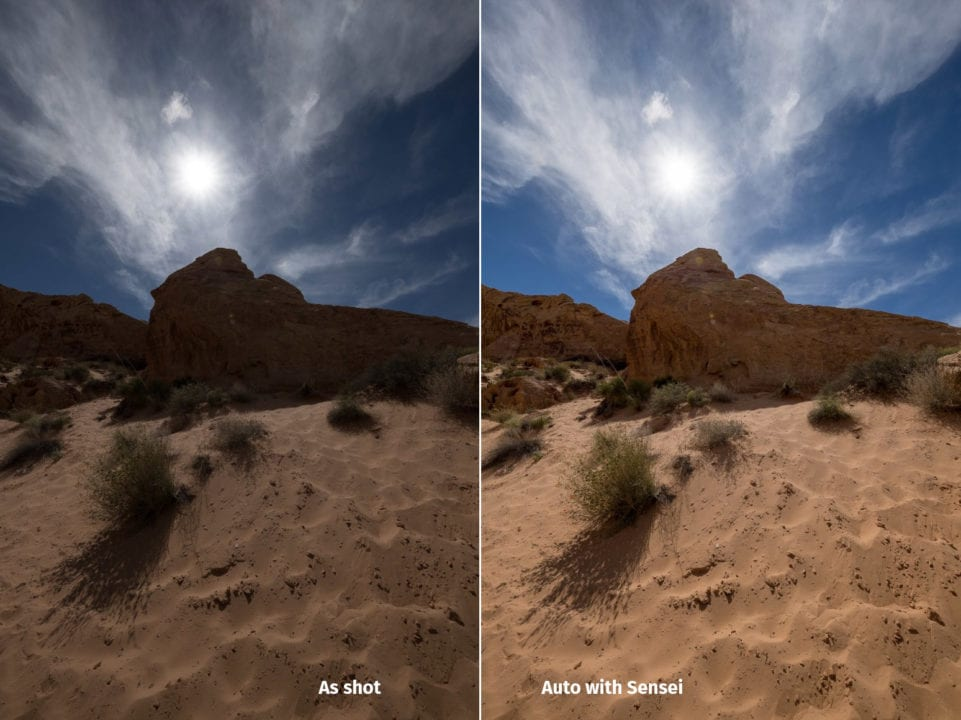 Compare the before underexposed desert scene with Auto using Adobe Artificial Intelligence.