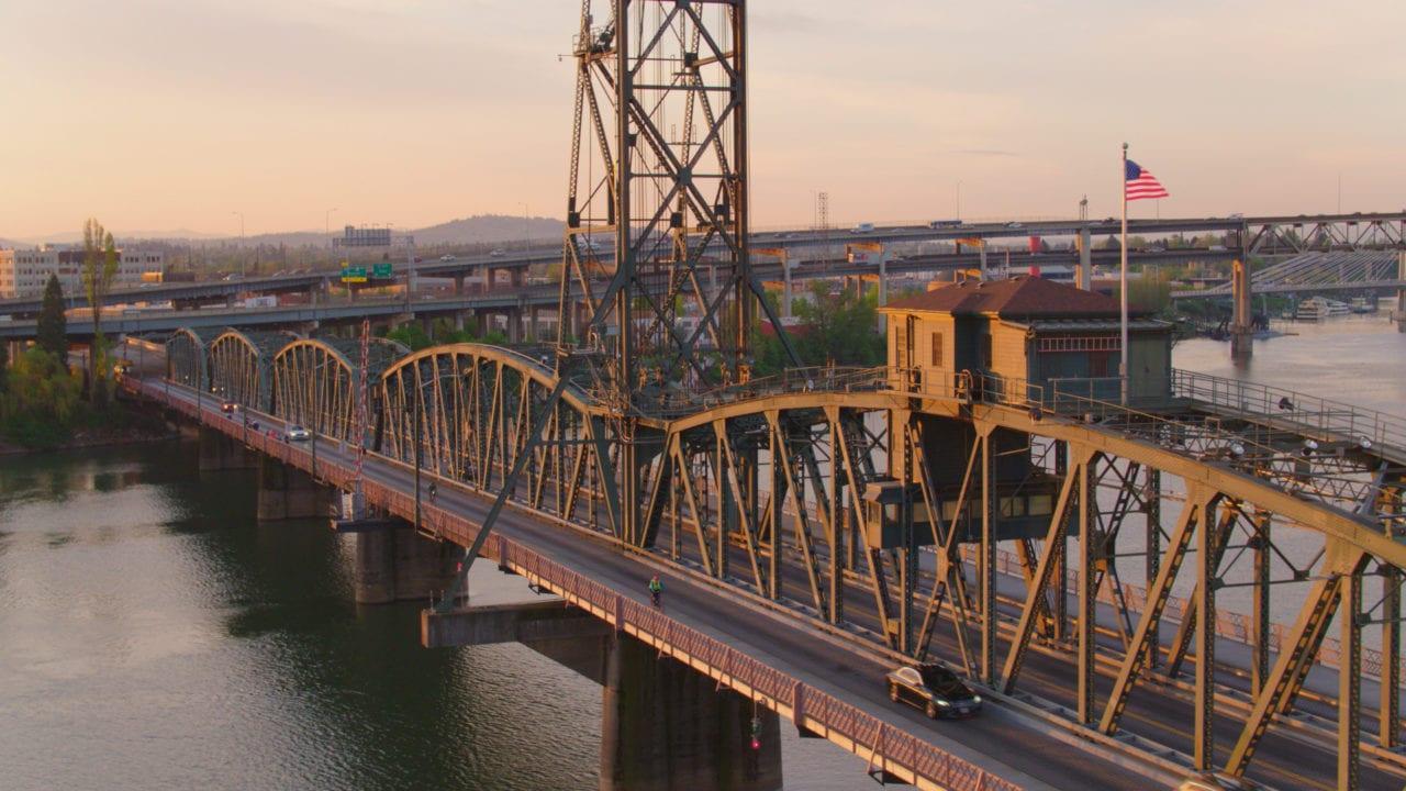 Hawthorne Bridge Drone Shot