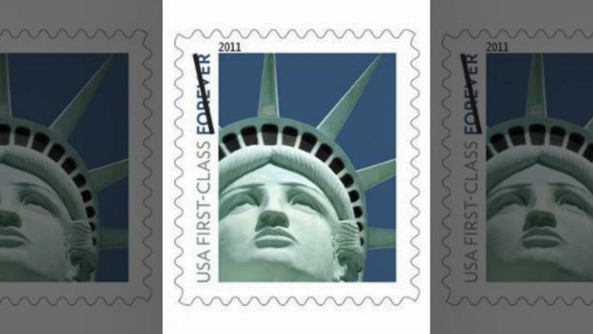 The 2011 forever stamp mistakenly used an artist's Lady Liberty statue in Las Vegas instead of the original one in New York.  (U.S. Postal Service )