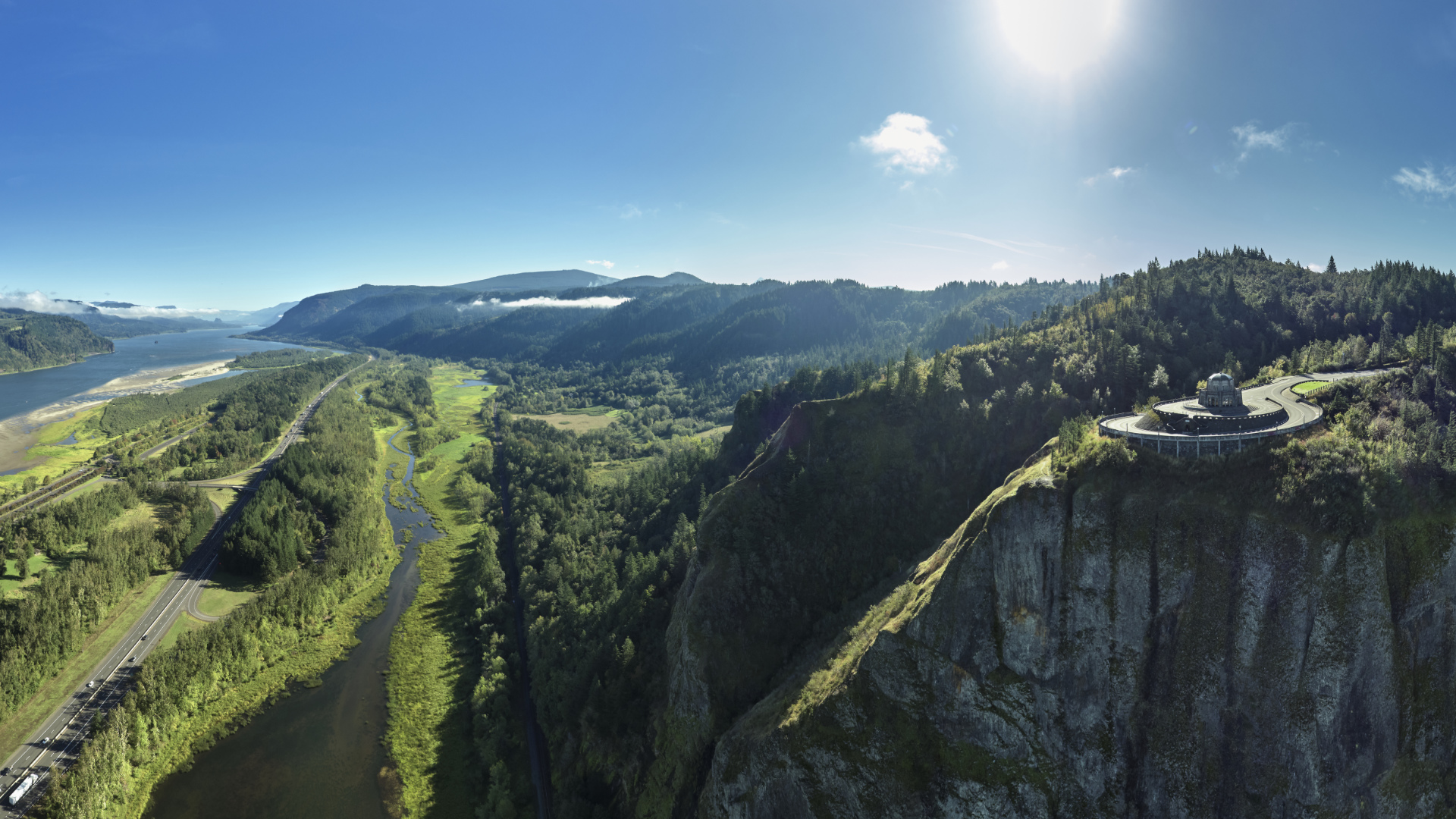 Aerial panorama of Crown Point and the Columbia River in the Columbia River Gorge on a sunny summer day