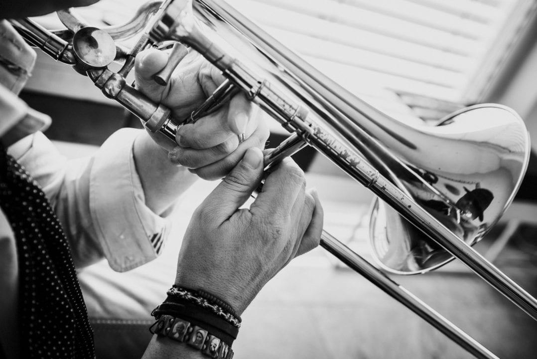trombone, hands, music, player, brass, black&white