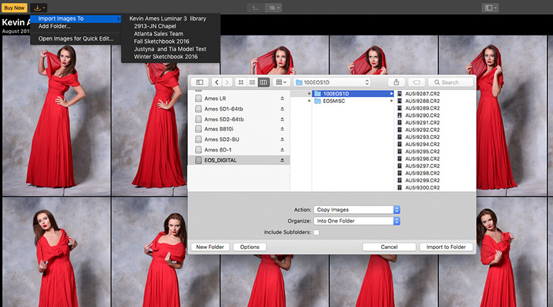 Add photos to Luminar 3's library by clicking the first button in the toolbar.