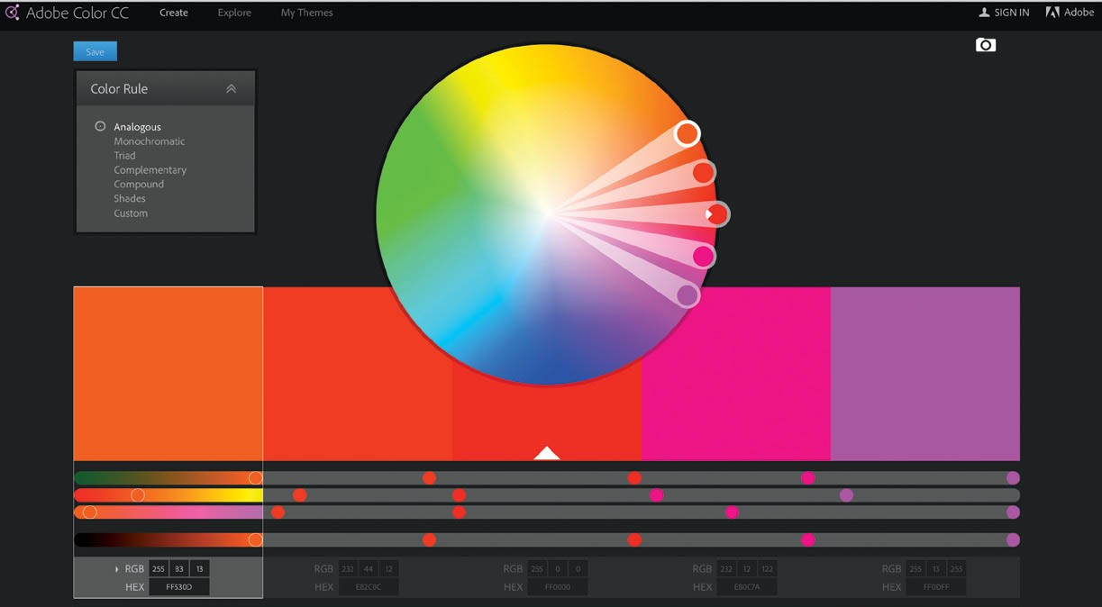 An example of an analogous color scheme generated using the free tools at color.adobe.com.