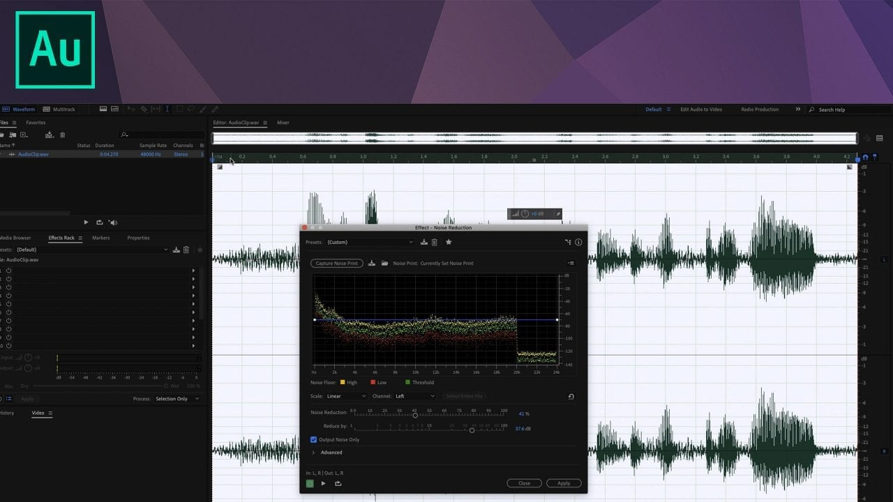 Remove background audio noise with the Noise Reduction effect in Adobe Audition | Photofocus