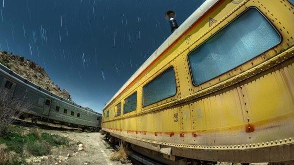 5994_kenlee_joshuatree_200306_2208_21mtotal-3mf8iso320_trains_fisheye_yellowtrain-southernpacific-corner-startrails_HEADER-PHOTOFOCUS-METADATA---TRAINS-FISHEYE