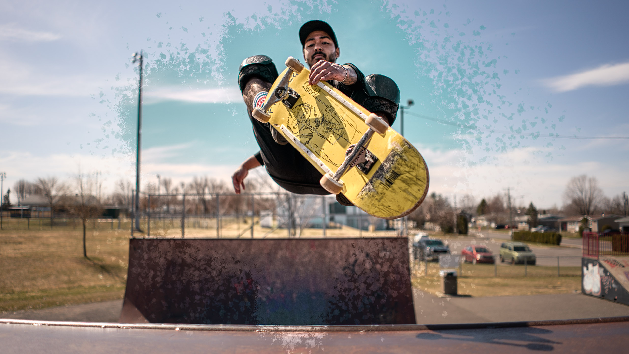 Skater jumping rail HDR