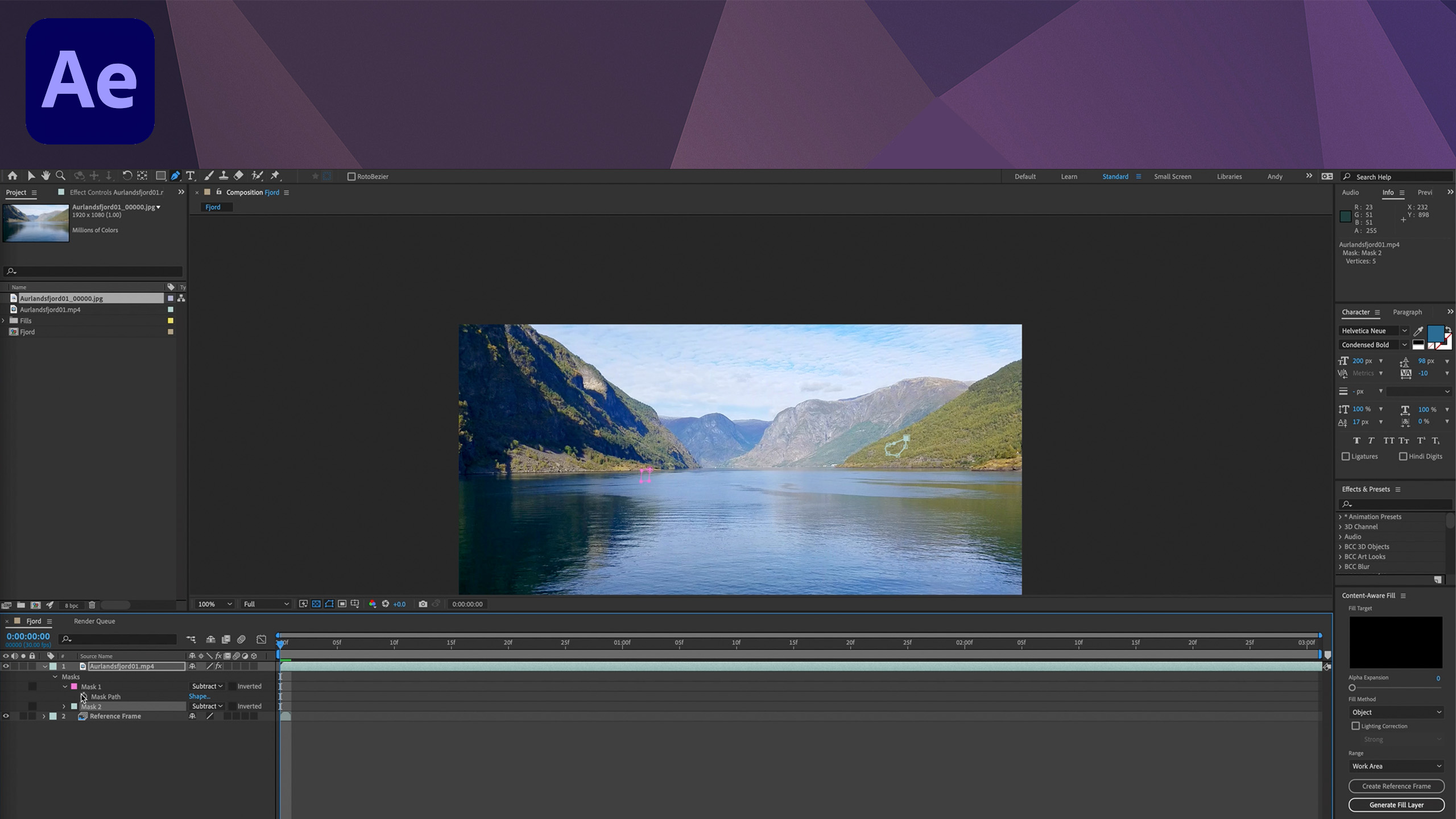 After Effects Tutorial - Content-Aware Fill