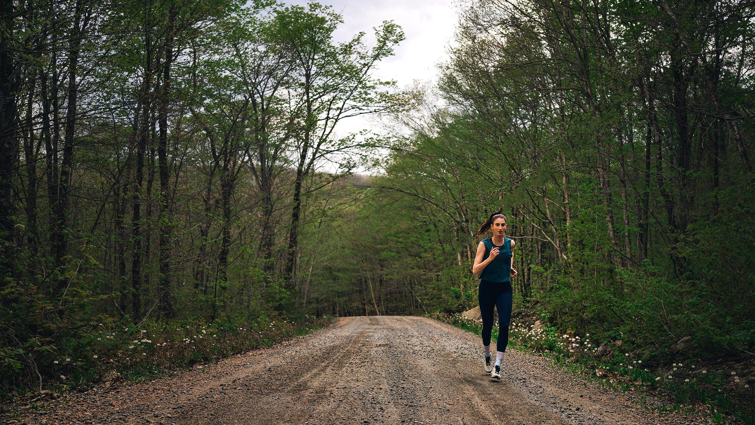 Wide angle female runner