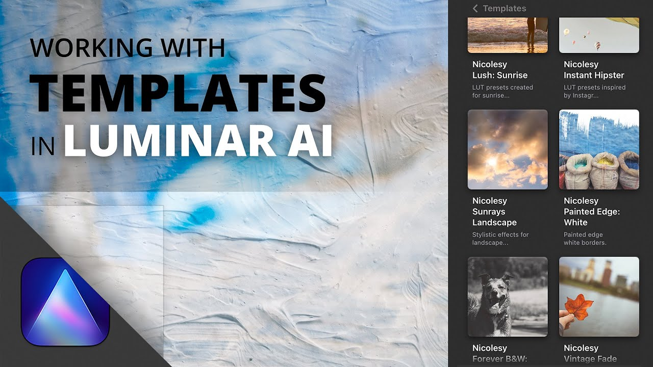 Working with Luminar AI Templates - youtube