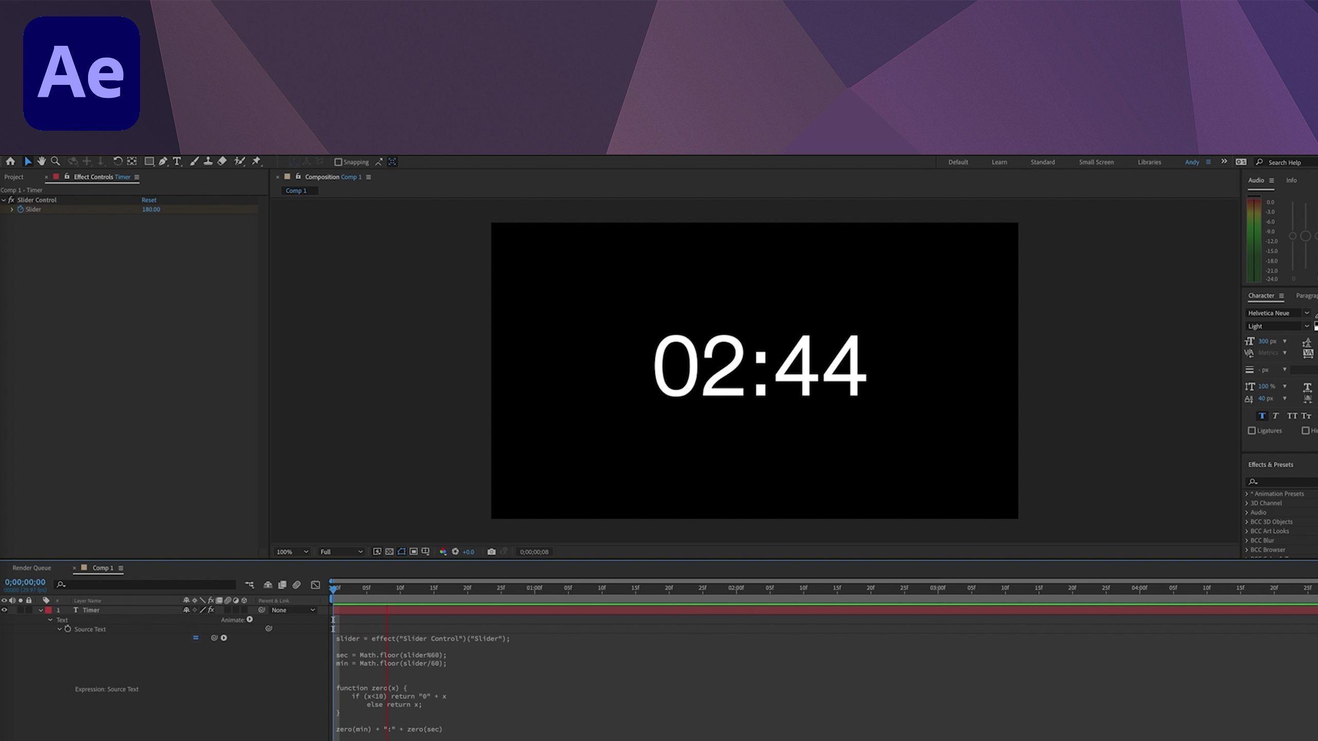 Countdown Timer Expression - After Effects